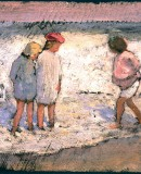 Louis Comfort Tiffany. <em>Children at the Beach</em>, 1889. Oil on Paper © Morse Museum