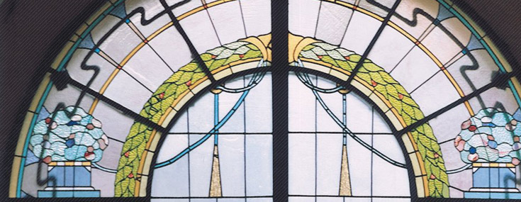 Friedrich Scheffe, 1907. Apartment building at Bazicas iela 5. Stained glass window (© Janis Krastins)